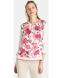 Yera - Floral Print T-shirt With French Sleeves - Lyst