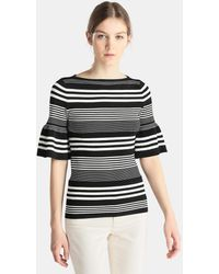 Lauren by Ralph Lauren - Striped Jumper With Frilled Sleeves - Lyst