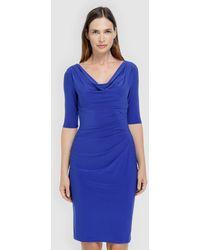 Lauren by Ralph Lauren - Blue Draped Dress - Lyst
