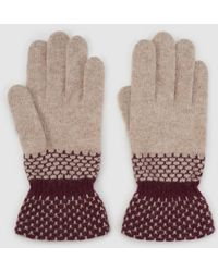 El Corte Inglés - Beige Knitted Gloves With Contrasting Cuffs - Lyst