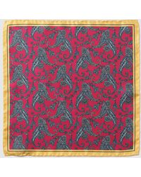 Mirto - Fuchsia Embellished Print Silk Pocket Square - Lyst