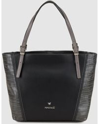 Pepe Moll - Black Tote Bag With Mock-croc Details - Lyst