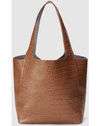 El Corte Inglés - Brown Shopper Bag With Mock-croc Embossing - Lyst