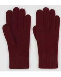 El Corte Inglés - Basic Burgundy Knitted Gloves - Lyst