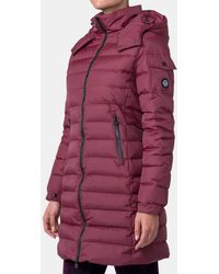 Mirto - Long Maroon Quilted Coat - Lyst