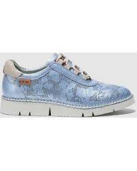 Pikolinos - Grey Cutwork Leather Lace-up Shoes - Lyst
