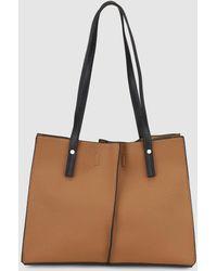 El Corte Inglés - Large Brown Grained Effect Shopper Bag - Lyst