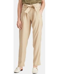 Lauren by Ralph Lauren - Wo Beige Trousers With Tie Waist - Lyst
