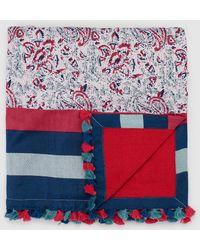 El Corte Inglés - Floral Print Cotton Beach Wrap With Multicoloured Stripes - Lyst