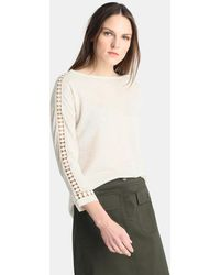 Zendra El Corte Inglés - El Corte Inglés Zendra Beige Jumper With Crochet On The Sleeves - Lyst