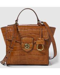 Lauren by Ralph Lauren - Small Brown Leather Handbag With Mock-croc Embossing - Lyst