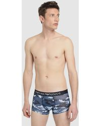 EA7 - Blue Knit Boxer Shorts - Lyst