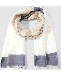 Gloria Ortiz - Two-tone White And Navy Blue Linen Jacquard Foulard - Lyst