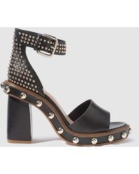 RED Valentino - Black High-heel Sandals With Decorative Studs - Lyst