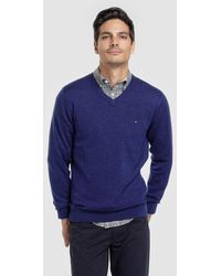 Tommy Hilfiger - Blue Virgin Wool Sweater With V-neck - Lyst
