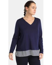 Couchel - Plus Size Blue Sweater With Striped Shirt-tails - Lyst