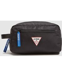 Guess - Black Toiletry Bag With Zip And Side Handle - Lyst