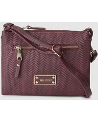 Pepe Moll - Small Burgundy Crossbody Bag With Triple Compartment - Lyst