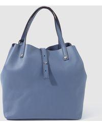 Gloria Ortiz - Mini Sofia Plain Lead Blue Leather Shopper Bag - Lyst