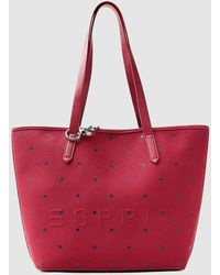 Esprit - Red Granulated Canvas Shopper Bag With Contrasting Polka Dots - Lyst