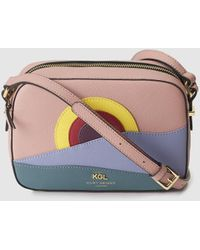 Kurt Geiger - Richmond Small Pink Leather Crossbody Bag With Multicoloured Front Detail - Lyst