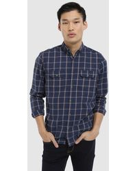 Green Coast - Slim-fit Indigo Blue Checked Shirt - Lyst