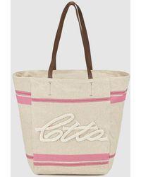 Caminatta - Tan Canvas Shopper Bag With Pink Details - Lyst