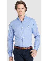 Polo Ralph Lauren | Mens Plain-coloured Blue Slim-fit Shirt | Lyst