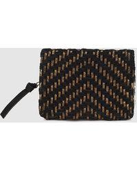 El Corte Inglés - Wo Black And Metallic Plaited Leather Wallet - Lyst