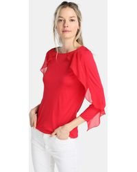 Yera - T-shirt With French Sleeves And Frills - Lyst