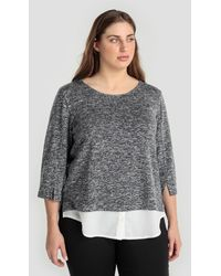 Couchel - Plus Size Flecked Sweater With Shirt-tails - Lyst