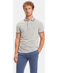 68e4cedba762a Tommy Hilfiger - Regular-fit Grey Short Sleeve Organic Cotton Piqué Polo  Shirt - Lyst