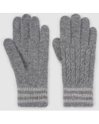 El Corte Inglés - Grey Knitted Gloves With Printed Cuffs - Lyst
