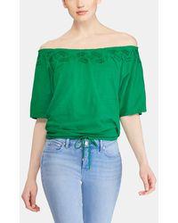 Lauren by Ralph Lauren - Short Sleeve T-shirt With Ruching At The Neckline - Lyst