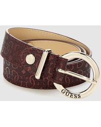 Guess - Wo Maroon Belt With Embossed Logo - Lyst