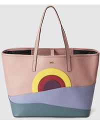 Kurt Geiger - London Pink Leather Shopper Bag With Multicoloured Front Detail - Lyst