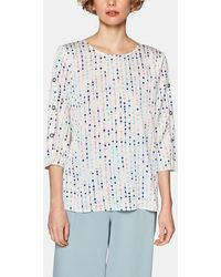 2115d2ac55e2 Esprit - Wo Blouse With French Sleeves And A Rounded Neckline - Lyst