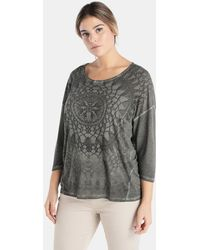 Couchel - Plus Size Printed T-shirt With French Sleeves - Lyst