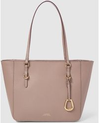 Lauren by Ralph Lauren - Taupe Saffiano Leather Shopper Bag With Zip - Lyst
