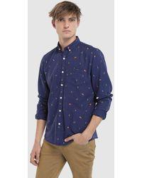 Green Coast - Navy Blue Slim-fit Christmas Print Shirt - Lyst