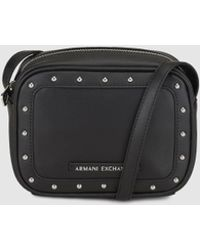 Armani Exchange - Wo Black Mini Messenger Bag With Studs - Lyst