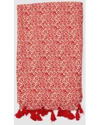 Caminatta - Red Geometric Print Foulard With Tassels - Lyst
