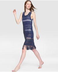 El Corte Inglés - Long Blue Crochet Kaftan - Lyst