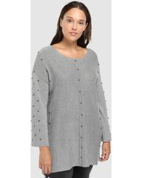 Couchel - Plus Size Grey Jumper With Beading - Lyst