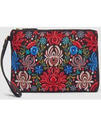 El Corte Inglés - Small Black Raffia Pouch Bag With Multicoloured Embroidery - Lyst