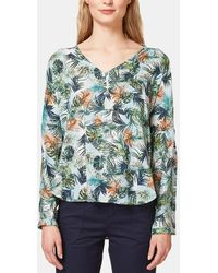 Esprit - Tropical Print Blouse With Buttons - Lyst