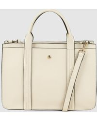 El Corte Inglés - Medium Beige Handbag With Front Strap With Top Stitching - Lyst