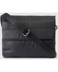 El Corte Inglés - Black Quilted Nylon Crossbody Bag With Flap - Lyst