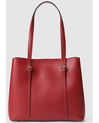 Polo Ralph Lauren - Small Red Calfskin Leather Tote Bag With Magnet Closure  - Lyst ebb7dcaf16181