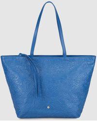 Gloria Ortiz - Maya Blue Embossed Leather Shopper Bag With Inner Pockets - Lyst